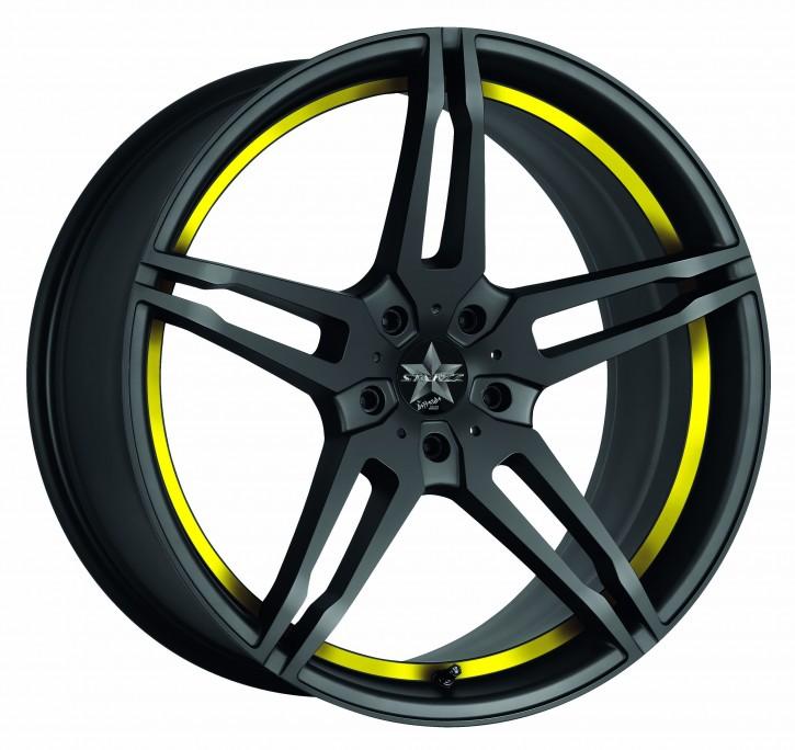 BARRACUDA STARZZ 8,5x19 5/114 ET 40 Mattblack Puresports / undercut Color Trim gelb