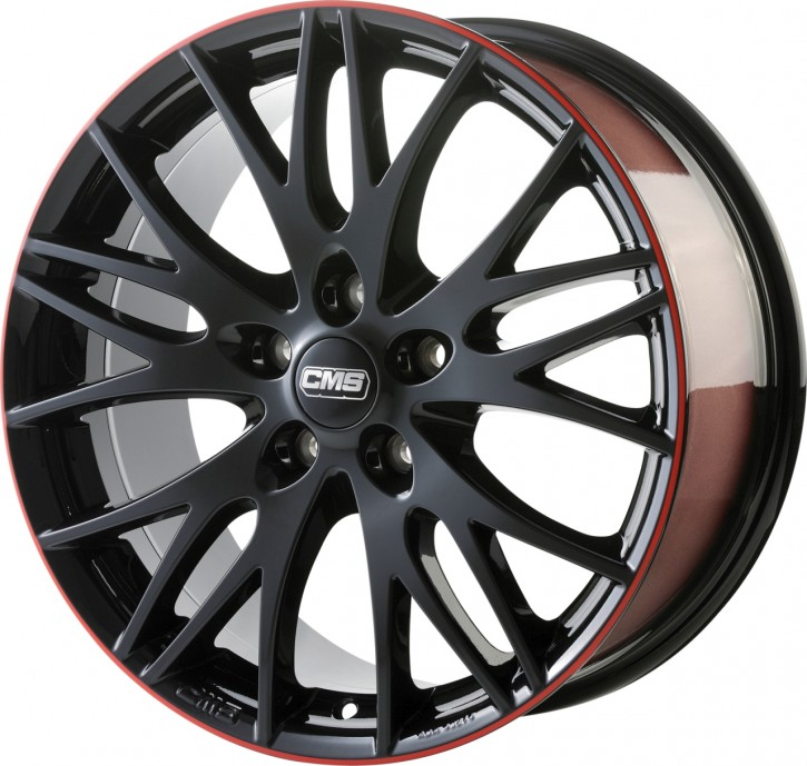 CMS C8 8x18 5/120 ET 35 Black Red Gloss