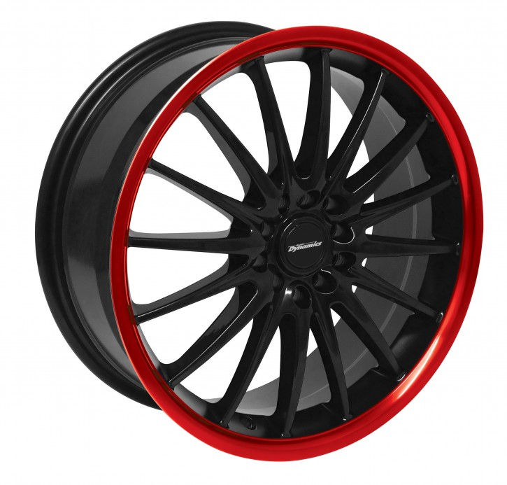 Team Dynamics JET RSX 7x17 8/100+108 ET 38 Gloss-Black + Felgenhorn in Rot