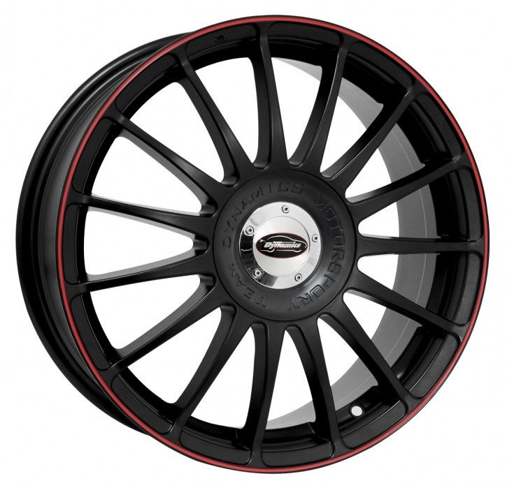 Team Dynamics MONZA R + RS 7x17 10/108+114 ET 45 Racing-Black mit Felgenhorn in Rot