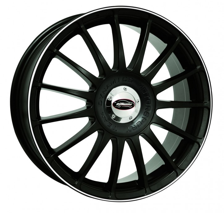 Team Dynamics MONZA R + RS 7,5x18 10/108+114 ET 45 Racing-Black mit Felgenhorn in Weiss