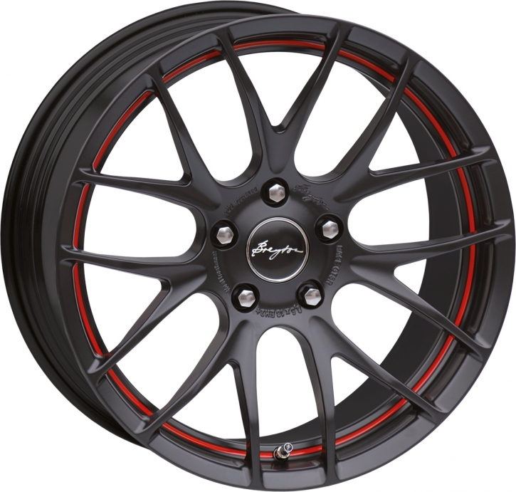 Breyton Race GTS-R 7,0x17 4-100 ET 40 Matt Black with Red Undercut Area
