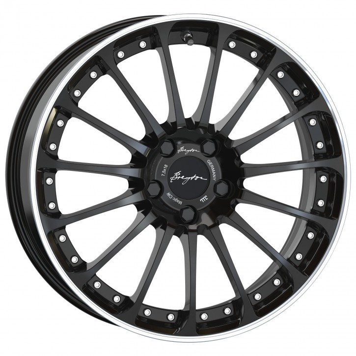 Breyton Magic CW 7,5x18 4-100 ET 48 Glossy Black with Polished Lip