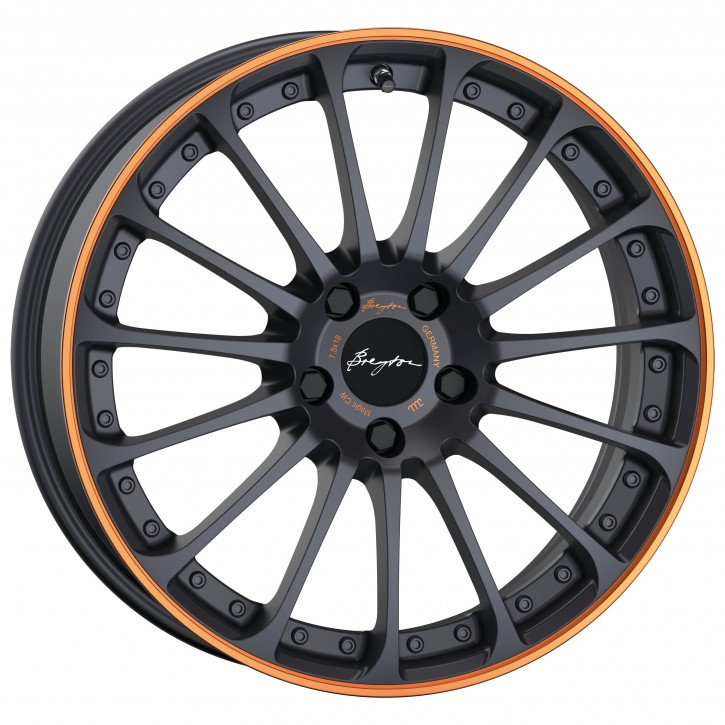 Breyton Magic CW 7,5x18 4-100 ET 48 Matt Grey with Orange Anodized Lip
