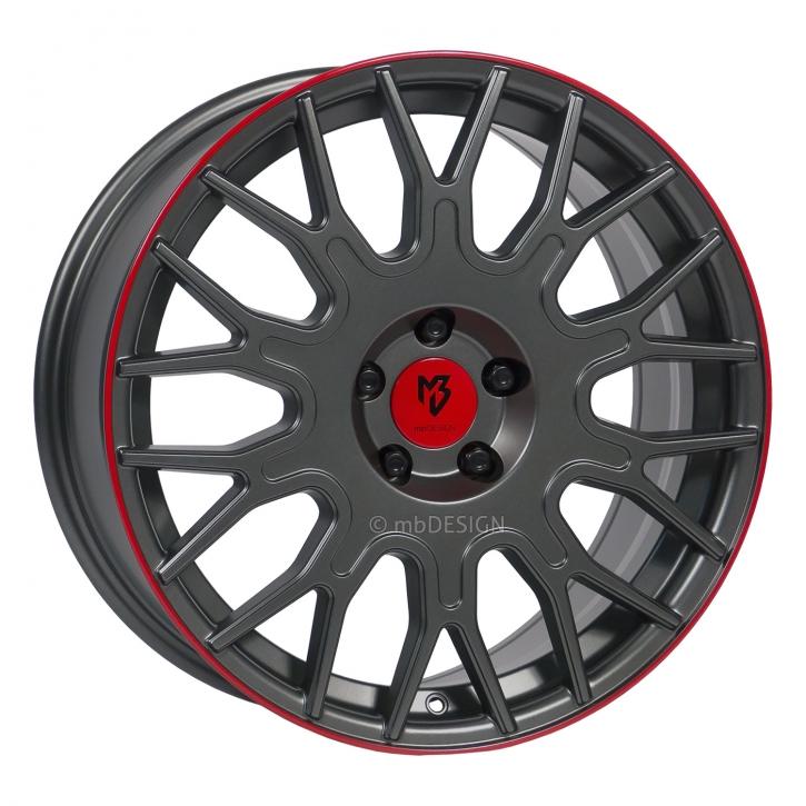 mbDESIGN LV2 8.5x20 5/110 ET 45 Grau stumpfmatt gepulvert Horn Rot lackiert