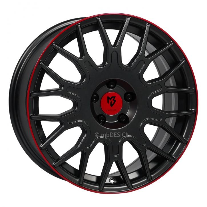 mbDESIGN LV2 8.5x19 5/110 ET 35 Schwarz stumpfmatt gepulvert Horn Rot lackiert