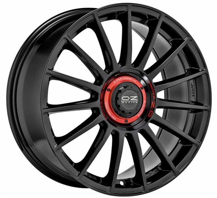 OZ SUPERTURISMO EVOLUZIONE 8x18 5/112 ET 35 GLOSS BLACK+RED LET.