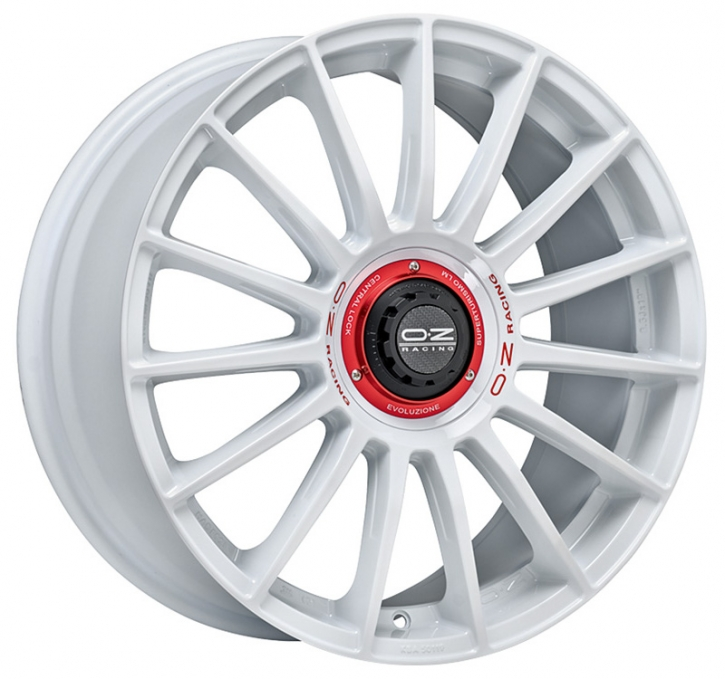 OZ SUPERTURISMO EVOLUZIONE WRC 8,5x19 5/114,3 ET 38 WHITE + RED LET.