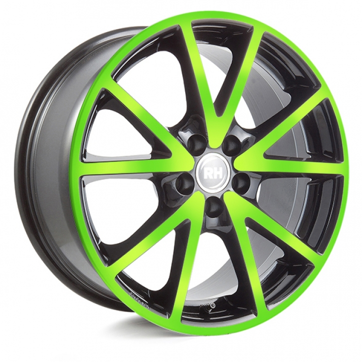 RH DE Sports 8x17 5/108 ET 45 color polished - green