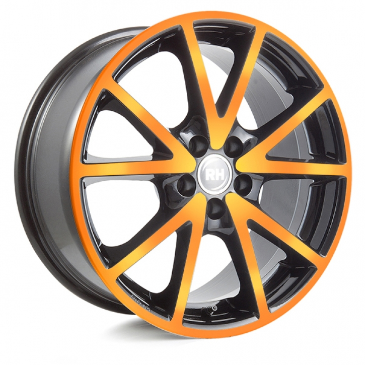 RH DE Sports 8x18 5/108 ET 45 color polished - orange