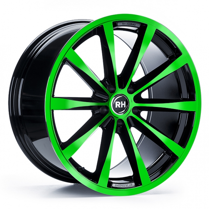 RH GT 8x18 5/105 ET 35 color polished - green