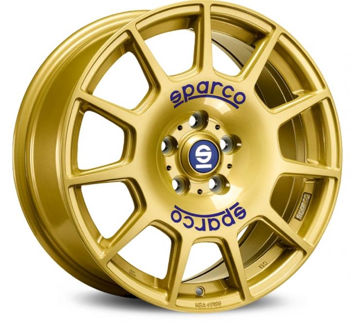 Sparco TERRA 7,5x17 5/100 ET 48 RACE GOLD + BLUE LETTERING